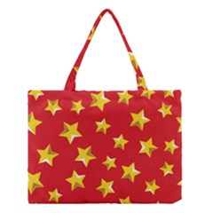 Yellow Stars Red Background Pattern Medium Tote Bag by Onesevenart