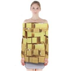 Gold Bars Feingold Bank Long Sleeve Off Shoulder Dress by Onesevenart