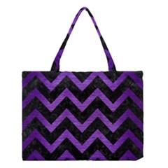 Chevron9 Black Marble & Purple Brushed Metal (r) Medium Tote Bag by trendistuff