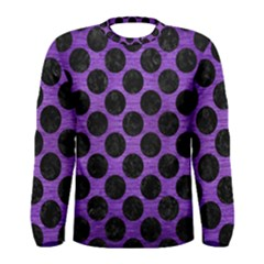 Circles2 Black Marble & Purple Brushed Metal Men s Long Sleeve Tee by trendistuff