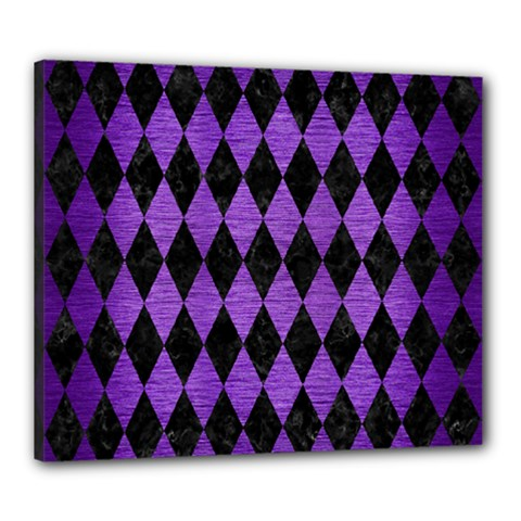 Diamond1 Black Marble & Purple Brushed Metal Canvas 24  X 20  by trendistuff