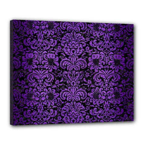 Damask2 Black Marble & Purple Brushed Metal (r) Canvas 20  X 16  by trendistuff