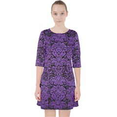Damask2 Black Marble & Purple Brushed Metal (r) Pocket Dress by trendistuff