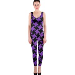 Houndstooth2 Black Marble & Purple Brushed Metal Onepiece Catsuit by trendistuff