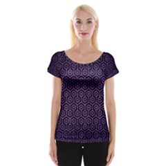 Hexagon1 Black Marble & Purple Brushed Metal (r) Cap Sleeve Tops by trendistuff