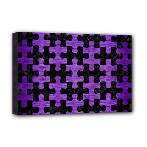 Puzzle1 Black Marble & Purple Brushed Metal Deluxe Canvas 18  X 12   by trendistuff