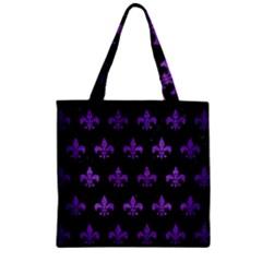 Royal1 Black Marble & Purple Brushed Metal Zipper Grocery Tote Bag by trendistuff