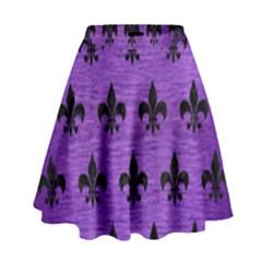 Royal1 Black Marble & Purple Brushed Metal (r) High Waist Skirt by trendistuff