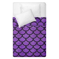 Scales1 Black Marble & Purple Brushed Metal Duvet Cover Double Side (single Size) by trendistuff