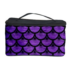 Scales3 Black Marble & Purple Brushed Metal Cosmetic Storage Case by trendistuff