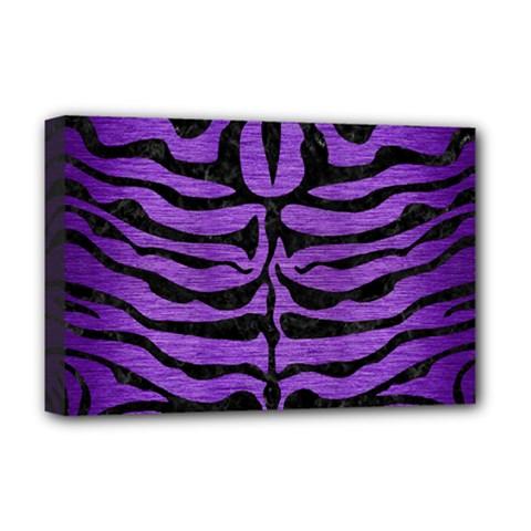Skin2 Black Marble & Purple Brushed Metal Deluxe Canvas 18  X 12   by trendistuff