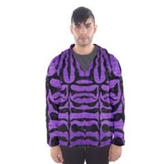 Skin2 Black Marble & Purple Brushed Metal Hooded Wind Breaker (men) by trendistuff
