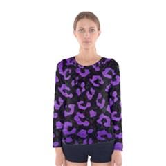 Skin5 Black Marble & Purple Brushed Metal Women s Long Sleeve Tee by trendistuff