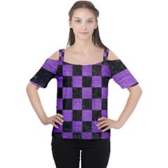 Square1 Black Marble & Purple Brushed Metal Cutout Shoulder Tee by trendistuff