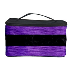 Stripes2 Black Marble & Purple Brushed Metal Cosmetic Storage Case by trendistuff