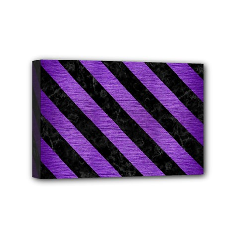 Stripes3 Black Marble & Purple Brushed Metal Mini Canvas 6  X 4  by trendistuff