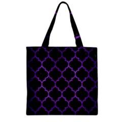 Tile1 Black Marble & Purple Brushed Metal (r) Zipper Grocery Tote Bag by trendistuff
