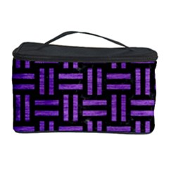 Woven1 Black Marble & Purple Brushed Metal (r) Cosmetic Storage Case by trendistuff
