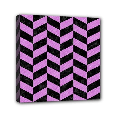 Chevron1 Black Marble & Purple Colored Pencil Mini Canvas 6  X 6  by trendistuff