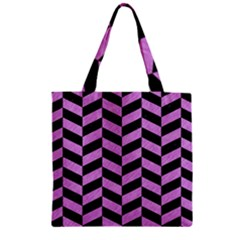Chevron1 Black Marble & Purple Colored Pencil Zipper Grocery Tote Bag by trendistuff