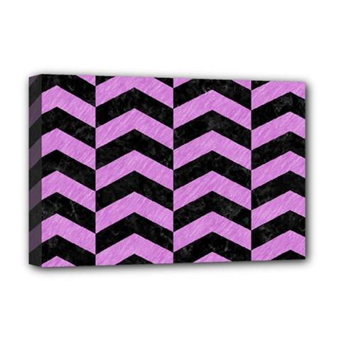 Chevron2 Black Marble & Purple Colored Pencil Deluxe Canvas 18  X 12   by trendistuff