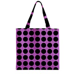 Circles1 Black Marble & Purple Colored Pencil Zipper Grocery Tote Bag by trendistuff