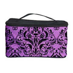 Damask1 Black Marble & Purple Colored Pencil Cosmetic Storage Case by trendistuff