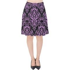 Damask1 Black Marble & Purple Colored Pencil (r) Velvet High Waist Skirt by trendistuff