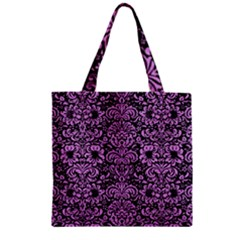 Damask2 Black Marble & Purple Colored Pencil (r) Zipper Grocery Tote Bag by trendistuff