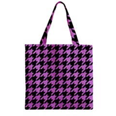 Houndstooth1 Black Marble & Purple Colored Pencil Zipper Grocery Tote Bag by trendistuff