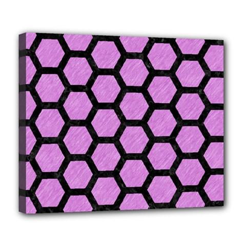 Hexagon2 Black Marble & Purple Colored Pencil Deluxe Canvas 24  X 20   by trendistuff