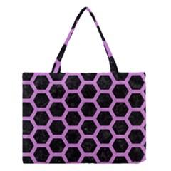 Hexagon2 Black Marble & Purple Colored Pencil (r) Medium Tote Bag by trendistuff