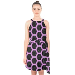 Hexagon2 Black Marble & Purple Colored Pencil (r) Halter Collar Waist Tie Chiffon Dress