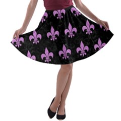 Royal1 Black Marble & Purple Colored Pencil A Line Skater Skirt