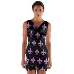Royal1 Black Marble & Purple Colored Pencil Wrap Front Bodycon Dress