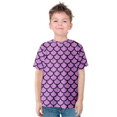 Scales1 Black Marble & Purple Colored Pencil Kids  Cotton Tee by trendistuff