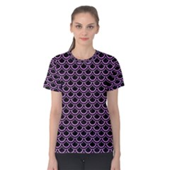 Scales2 Black Marble & Purple Colored Pencil (r) Women s Cotton Tee by trendistuff