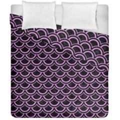 Scales2 Black Marble & Purple Colored Pencil (r) Duvet Cover Double Side (california King Size) by trendistuff