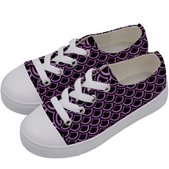 Scales2 Black Marble & Purple Colored Pencil (r) Kids  Low Top Canvas Sneakers by trendistuff