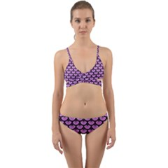 Scales3 Black Marble & Purple Colored Pencil Wrap Around Bikini Set