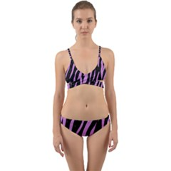 Skin3 Black Marble & Purple Colored Pencil (r) Wrap Around Bikini Set