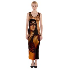 Wonderful Fantasy Women With Mask Fitted Maxi Dress by FantasyWorld7