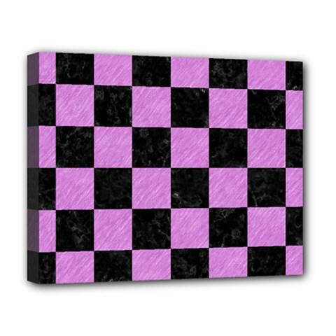 Square1 Black Marble & Purple Colored Pencil Deluxe Canvas 20  X 16   by trendistuff