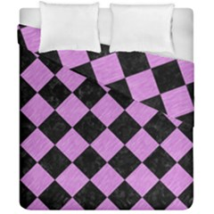 Square2 Black Marble & Purple Colored Pencil Duvet Cover Double Side (california King Size) by trendistuff