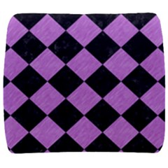 Square2 Black Marble & Purple Colored Pencil Back Support Cushion by trendistuff