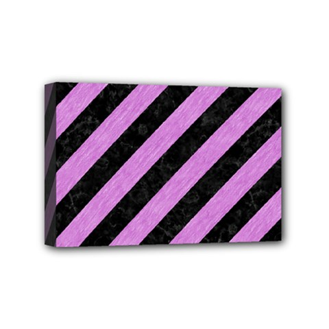 Stripes3 Black Marble & Purple Colored Pencil (r) Mini Canvas 6  X 4  by trendistuff