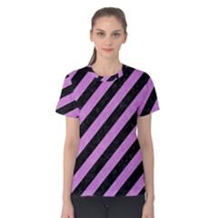 Stripes3 Black Marble & Purple Colored Pencil (r) Women s Cotton Tee by trendistuff