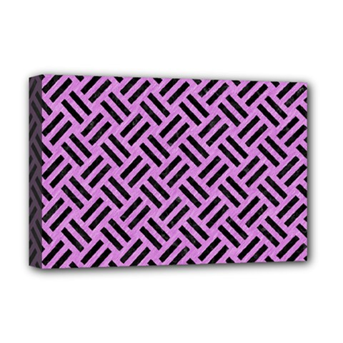 Woven2 Black Marble & Purple Colored Pencil Deluxe Canvas 18  X 12   by trendistuff
