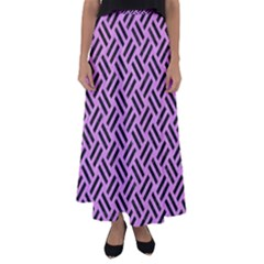 Woven2 Black Marble & Purple Colored Pencil Flared Maxi Skirt by trendistuff