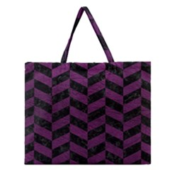 Chevron1 Black Marble & Purple Leather Zipper Large Tote Bag by trendistuff
